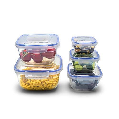 MonaVana Frischhaltedosen Set, 5-teilig, Deckel mit Klickverschluss, BPA-freier Kunststoff, leicht, luftdicht, quadratisch, stapelbar