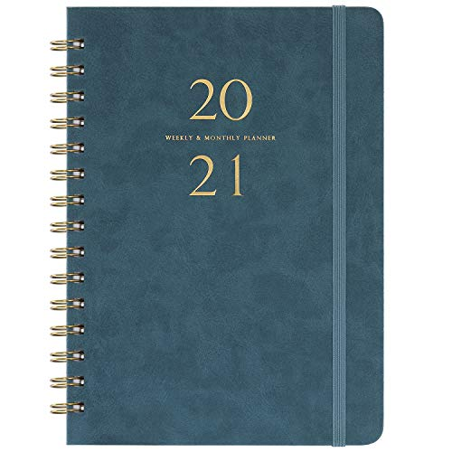 "2021 Planner - Weekly & Monthly Planner with Monthly Tabs, 6.3"" x 8.4"", Smooth Faux Leather & Flexible Cover with White Paper, January 2021 - December 2021, Wirebound, Green"