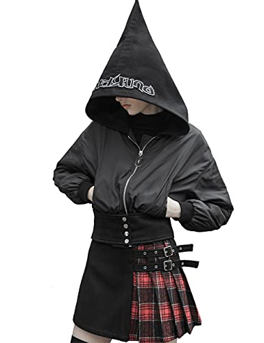 Punk Rave Sombrero de mago gótico, chaqueta corta, casual, grueso, con capucha, para mujer