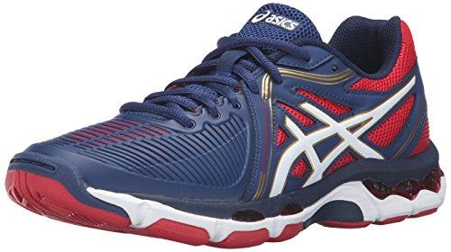 ASICS Women's Gel-Netburner Ballistic Volleyball Shoe, Estate Blue/White/True Red, 6.5 M US