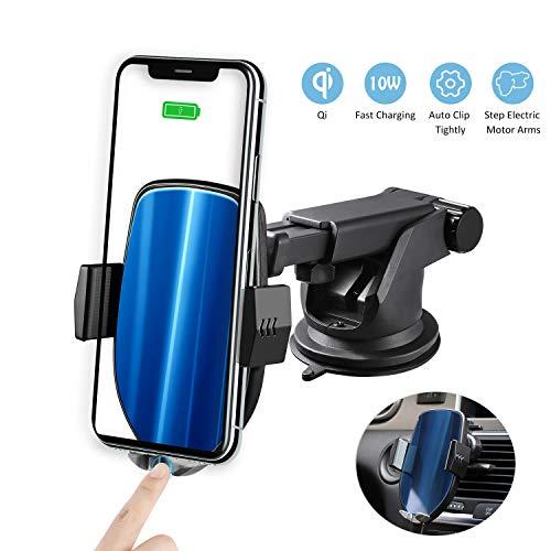 Zeonetak Wireless Charger voor auto, 10W Qi auto snelle draadloze opladers automatische mobiele telefoon houder met ventilatie & zuignaphouder voor iPhone XS / XS Max/XR / X/8, Galaxy S9/S9+/S8/S8p/Note 8, Draadloze autolader.