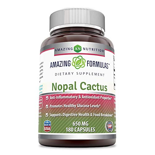 Amazing Nutrition Nopal Cactus 650 Mg 180 Capsules (Non-GMO,Gluten Free) - Anti-Inflammatory & Antioxidant Properties, Promotes Healthy Glucose Levels, Supports Digestive Health & Food Breakdown.