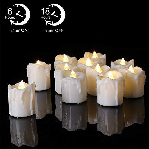 LED Kerzen, PChero 12 Stück Warm weiß LED Elektrische Tee Lichter flammenlose Kerzen mit Timer, Automatik Timerfunktion: 6 Stunden an und 18 Stunden aus [1,7 Zoll hohe Version]