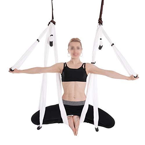 WWL Aerial Silk Elástica Yoga Hamaca Conjunto Completo 6 Asas Antigravedad Aérea Yoga Techo Hamaca Columpio Yoga Dispositivo Inversión Hogar Nylon Cinturón Colgante Púrpura Silk Yoga Swing para