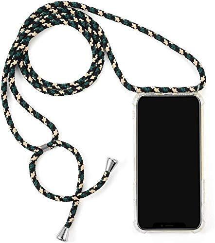 Herbests Kompatibel mit Samsung Galaxy S7 Handykette Hülle mit Umhängeband Durchsichtig Necklace Hülle mit Kordel zum Umhängen Schutzhülle Silikon Handyhülle Kordel Schnur Case,Grün Beige