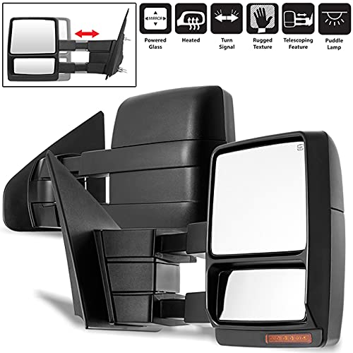 For 07-14 F150 F-150 Extendable Towing Power Telescoping Wide Angle Side Mirrors...