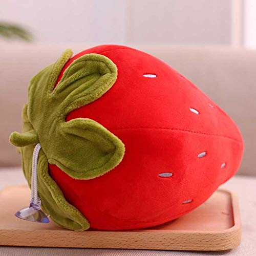 Pcqre Cute Strawberry Plush Toy 23CM Comfort Filled Strawberry Fruit Plush Pillow Cushion Baby Child Gift Soft Simulation Fruit Doll Figurine Cuddly Toy Kids Sleep Pillow Pets Toy
