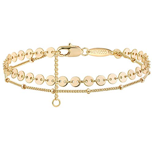 Mevecco Dainty Layered Gold Bracelets for Women 14K Gold Plated Cute Tiny Disc Layered Satellite Chain Bracelet for Women…