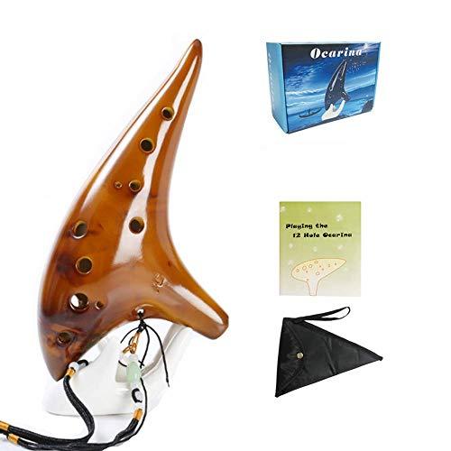 Ocarina 12 Holes Alto C Tone With Bag Strap Instruction (Yellow)