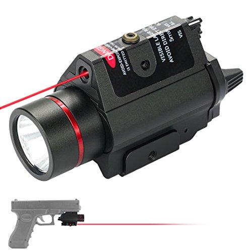 Feyachi [UPDATED] Red Laser + 200 Lumen Flashlight Combo with Compact Rail Mount for Pistol Handgun