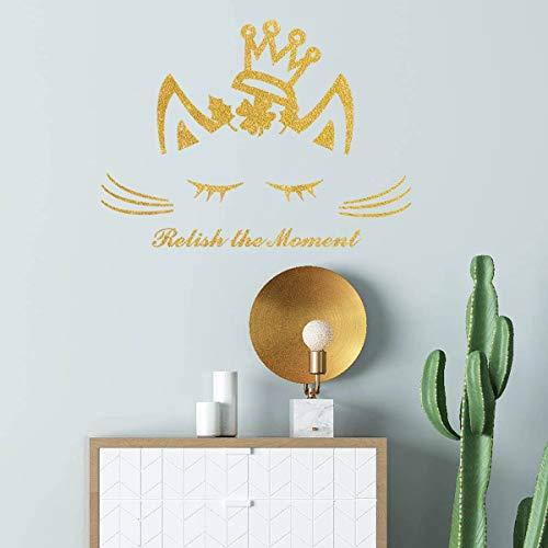 Mocolomm - Adhesivos decorativos de pared con diseño de gato brillante, para decoración de pared, diseño de gato