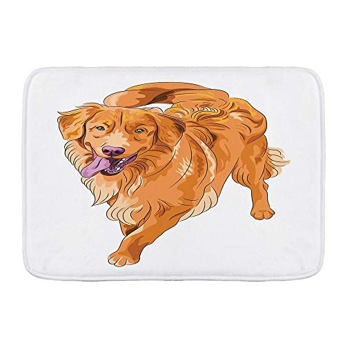"""PATINISA Memory Foam Bath Mat,Playful Dog Running with a Smiling Face Best Friend and Companion,Non-Slip Bath Rugs Super Absorbent Bath Mats for Bathroom,Tub,30""""x17.7"""""""
