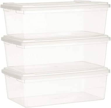 Now & Zen Plastic Stackable Shoe Organizer Storage Container Boxes Case with Lid - Multipurpose Storage Bin, Clear - 5.5