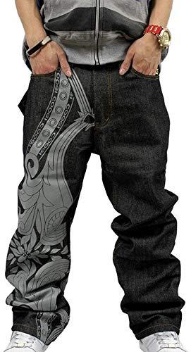WBUBUJ Heren Klassieke Hip Hop Jeans Mode Borduurwerk Casual Baggy Denim Broek Harem