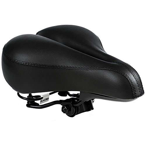 Zacro Gel Bike Saddle - BS053 Dual Spring Designed Suspension Artificial Leather Bike Seat Bicycle Saddle with 1 Mounting Wrench (Black)