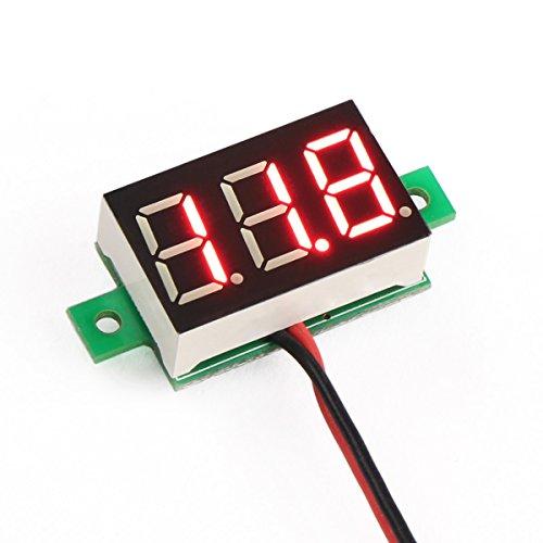 DROK 0.36' 3.0~30V Mini Voltmeter Digital 18650 Cell-phone Lithium Battery Tester 5/12V DC Voltage Tester White LED