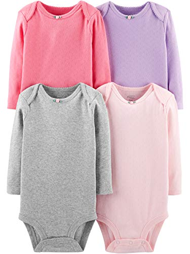 Simple Joys by Carter's Girls' 4-Pack Soft Thermal Long Sleeve Bodysuits, Pink/Purple/Grey, Newborn