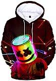 OLIPHEE Felpe con Cappuccio con 3D Stampa di DJ Carattere Felpa 3D Foto di Personaggio Modellismo DJ Carattere per Ragazzi e Uomo EDM S