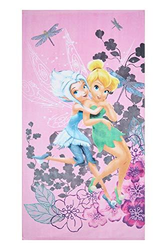 Disney Fairies Fairies Toalla de playa Rosa Tinker Bell y bígaro con flores para niños 70 x...