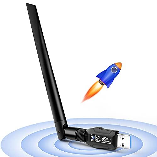 JamBer WLAN Stick,USB WiFi Adapter Dualband 1200Mbit/s(5ghz+2.4ghz) WLAN Dongle,5dBi WLAN Antenna/WLAN Adapter USB 3.0/Wireless Adapter für Windows 10/MAC OS/Linux/PC/Desktop/Notebook