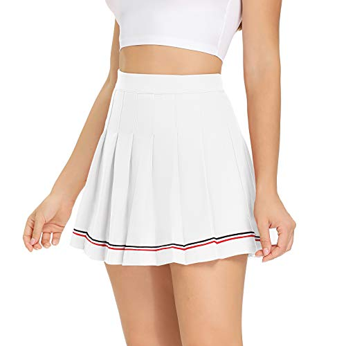 Womens Mini Pleated Skirt High Waisted Skater Tennis Skirts Golf Skort with Shorts School Girl Uniform (White, X-Small)
