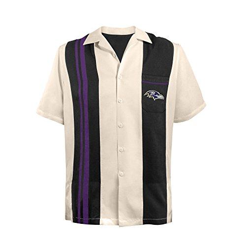 Littlearth NFL Bowling-Shirt, Unisex, für Erwachsene, Unisex-Erwachsene, NFL Spare Bowling Shirt - Guayabera Bowling Casual Dress Shirt, schwarz, Large