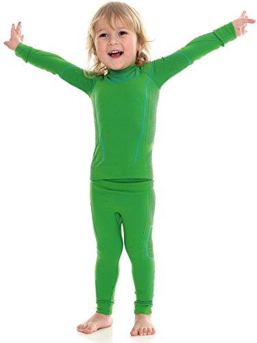 BRUBECK® Thermo Set Kinder/Junior Funktionsunterwäsche-Set | Shirt + Hose | Sportwäsche | Hochwertig | Nahtlos | Thermowäsche | Pflegeleicht (Boy - Green, 92/98)