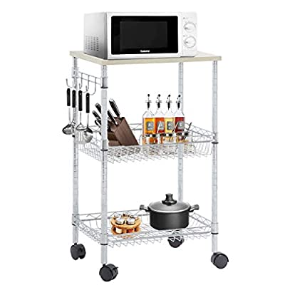 FDW Heavy Duty Utility Cart Wire 3 Tier Rolling Cart Organizer NSFKitchenCart on Wheels Metal Microwave Cart Large with Wire Shelving and Microwave Table Heavy Duty Commercial Grade,Wood/Chrome from FDW