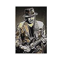 ロックギタリストカルロスサンターナアニメポスターデコレーションペインティングキャンバスプリントアートピクチャーベッドルームウォールデコレーションペインティング16×24inch(40×60cm)