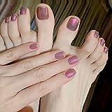 24 unids/set usable púrpura luz Aurora mano pies uñas falsas con temperamento cabeza cuadrada uñas terminadas