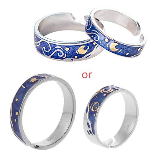 HELYZQ 2 peças S925 banhado a prata Van Gogh Blue Starry Sky Open Lover Rings Jewelry