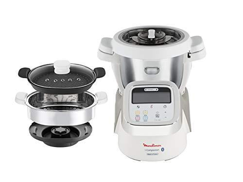 Robot de Cocina Moulinex i-Companion HF900110 + Vaporera Cuisine Companion + Accesorio Cortador. Jarra de 3.7 lt, Bluetooth, 13 programas y accesorios; cuchilla picadora, batidor, mezclador, amasador, triturador y cestillo