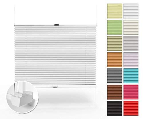Home-Vision Premium Plissee nach Maß, ohne Bohren mit Klemmträger, Blickdicht Jalousie für Fenster & Tür Sonnenschutzrollo (Weiß, B121-130cm x H101-150cm)