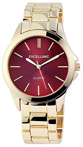 Excellanc Damen Uhr Metall Armbanduhr Bordeaux Rot - 180505000042