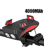 LYDQ Fietslamp mobiele telefoonhouder, 4-in-1 fietstelefoonhouder, led-fietskoplamp, USB-lading, schat met claxon, waterdicht voor 4-6,3 inch smartphone