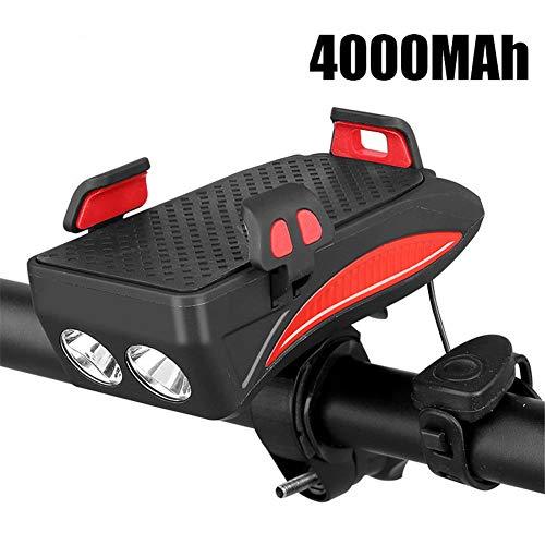 LYDQ Fahrradlicht-Handyhalterung, 4 in 1 Fahrrad-Handyhalterung, LED-Fahrradscheinwerfer, USB-Ladegerät, Schatz mit Hupe, wasserdicht, für 10,2–16 cm Smartphone, rot, 4000MAh
