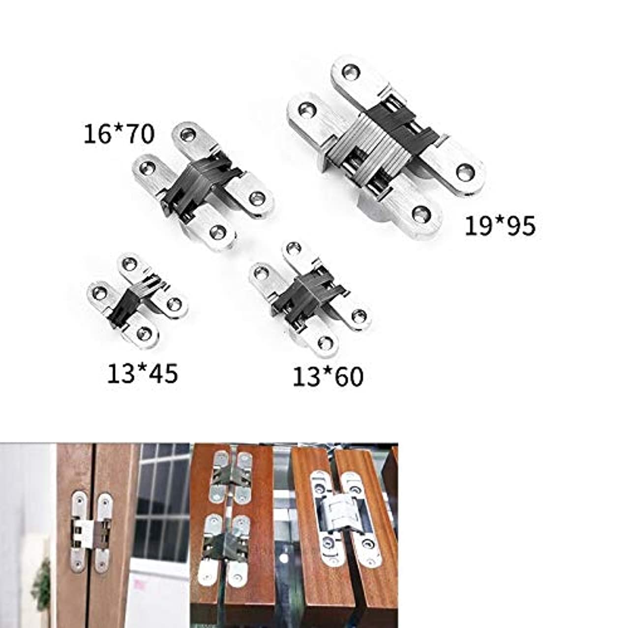 2PCS Stainless Steel Zinc Alloy Hinge Hidden Gate Hinges Non-Mortise Mute Door Hinges Strong Sturdy Furniture Parts - (Color: 19 X 95mm)