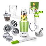 Genius Feelvita Nutri Mixer (16 Teile) Stand-Mixer Smoothie-Maker Zerkleinerungs-Maschine Shake-Mixer aus Edelstahl in grün für den Smoothie-Genuss
