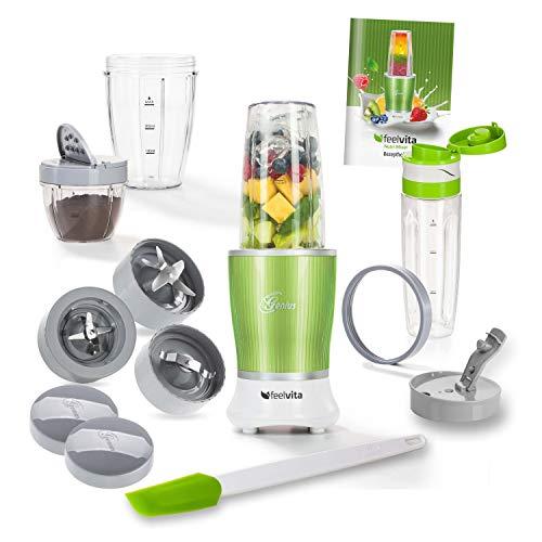 Genius Feelvita Nutri Mixer (16 Teile) elektrischer Standmixer Smoothiemaker Shake-Mixer aus Edelstahl in grün für den Genuss to go inkl Rezeptheft für einzigartige Smoothies