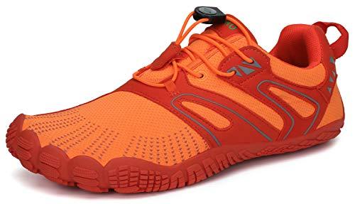SAGUARO Barfussschuhe Barfußschuhe Herren Damen Traillaufschuhe Straßenlaufschuhe Sommer Barefoot Wander Trekking Training Fitness Sneaker Breiter Zehenbox Minimalistische Schuhe, Orange, 45 EU