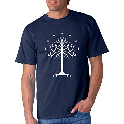 The Tree of Gondor - Camiseta Manga Corta (Azul Marino, XL)