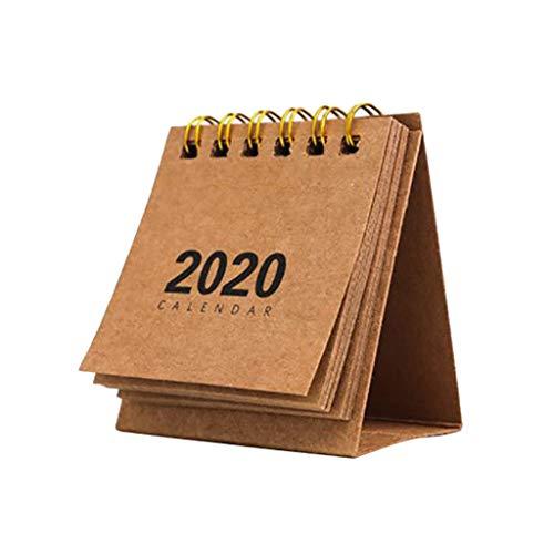 Deng Xuna 2020 Mini Tischkalender, Stand Up Flip Kalender Neujahr Täglich Monatlich Coil Kalender Tisch Planer Agenda Organizer für Home School Office (Khaki)