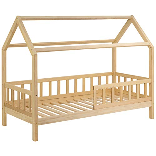 Schönes Kinderbett 90x200 cm mit Rausfallschutz - Hausbett für Kinder aus Holz im skandinavischen Haus Stil | 90 x 200 Kiefer Bett inkl. Lattenrost | Massivholz Natur Hell
