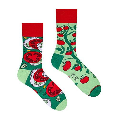 Spox Sox Casual Unisex - mehrfarbige, bunte Socken für Individualisten, Gr. 36-39, Tomaten