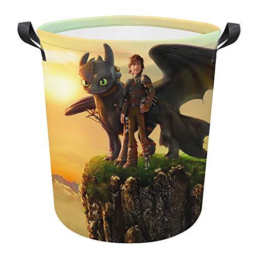How to Train You Dragon - Cesta plegable impermeable de 17.3 pulgadas, cesta para la colada sucia, caja de almacenamiento para colección de juguetes