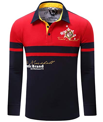 Men's Long Sleeve Premium Embroidered Classic Golf Polo Shirts Cottom Warm Polo T Shirt, Red, US L+, EUR XXL