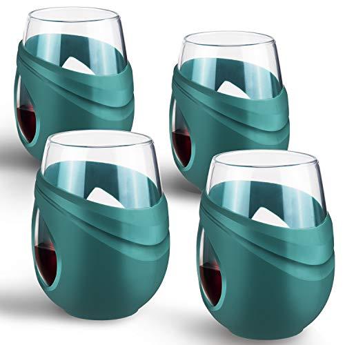 FCSDETAIL Vasos de Cristal Borosilicato con Funda Protectora de Silicona de 500 ml, Juego de 4 Copas para Vino Tinto, Vino Blanco, Café y Agua, etc.