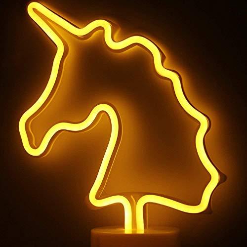 LED- Einhorn Neonlicht Zeichen Neon Schilder Lampen Blitz Neon Lights warmes Weiß Dekor-Blitz Neonlichter Batterie/USB Powered Nachtlicht für Weihnachten Kinderzimmer Wohnzimmer Hochzeit Dekor