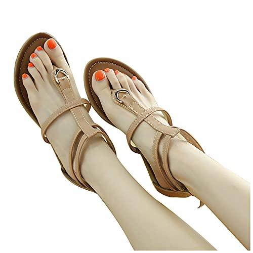 RealKing Sandales Bohèmes Boucle en Métal Fermeture Éclair Compensées Femmes Sandales Chaussures De Plage Orteil Sandales pour Femmes Bohèmes Appartements en Métal Boucle