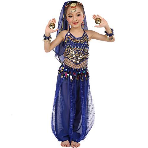 Magogo Mädchen Bauchtanz Kostüm Party Fancy Dress Glänzende Karneval Outfit, Kinder Arabische Prinzessin Kleidung Cosplay Dancewear (M, Dunkelblau)